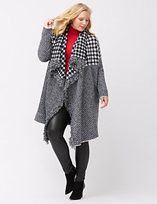 Mixed houndstooth fringed cardigan