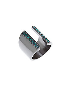 Open cuff ring with stones