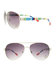 Aviator sunglasses with striped arms