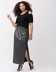 Simply Chic matte Jersey gunmetal maxi skirt