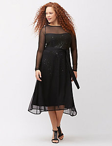 Sequin underlay mesh dress