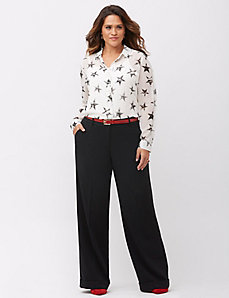 Stretch crepe wide leg pant