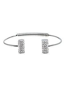 Pave cylinder spring back bracelet