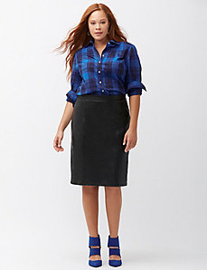 Coated ponte pencil skirt