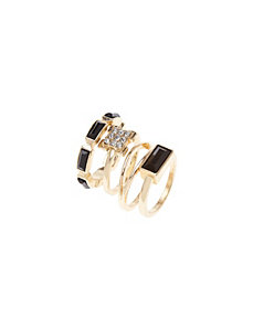 Black & goldtone 5 ring set