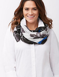 Floral scarf with border print