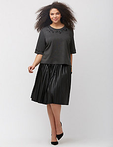 Faux leather pleated skirt by Melissa McCarthy Seven7
