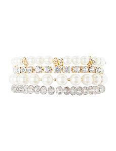 Faux pearl & bead 4 bracelet set