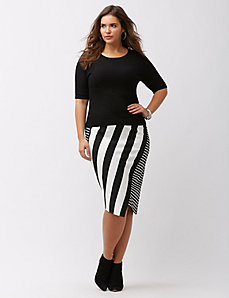 Mixed stripe asymmetric ponte skirt