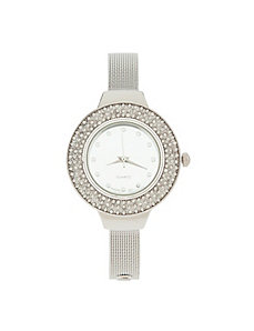 Silver toned round face watch