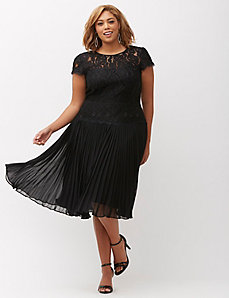 Draped waist pleated dress by Adrianna Papell