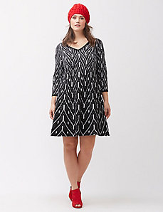 Patterned fit & flare sweater dress
