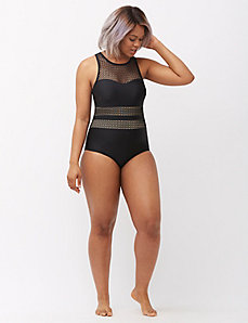Fishnet one piece swim suit with built-in bra