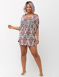 Lace-up paisley swim cover up