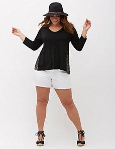 Side-Inset V-Neck Sweater