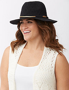Knit panama hat with gold band