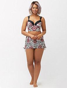 Paisley long line balconette bikini top
