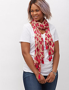 Heart print scarf with tassels