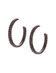 Black stone hoop earrings