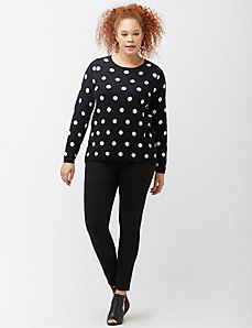 Polka dot zipper back sweater