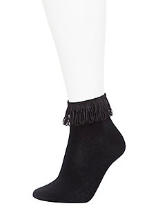 Fringed & solid bootie socks 2-pack