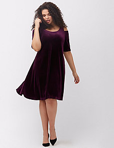 Velvet cold shoulder dress by MYNT 1792