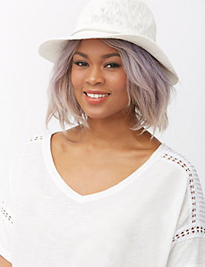 Knit Panama hat with silver band