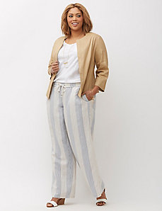 Printed Linen Wide Leg Pant