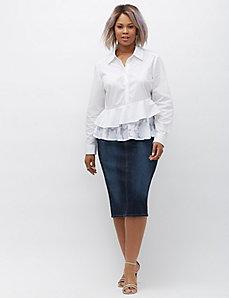 Asymmetrical ruffled peplum shirt