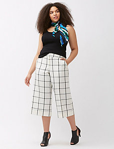 Lena grid print cropped trouser