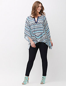 Embroidered Split-Neck Drama Top