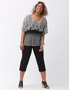 Mixed stripe surplice drama top