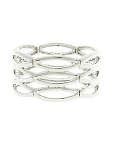 Silvertone ovals stretch bracelet