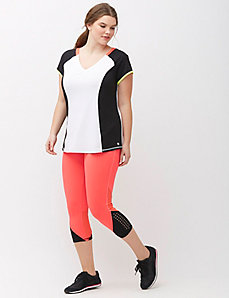 Wicking Capri Legging with Mesh Inset