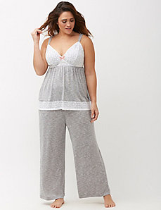 Wide Leg Heathered Sleep Pant