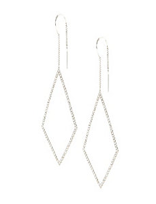 CZ diamond pull-through earrings