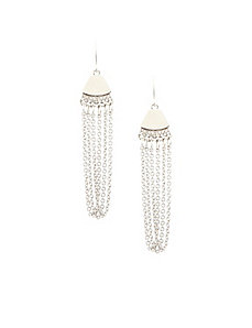 Silvertone chain drop earrings