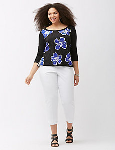 Print mix zip back top