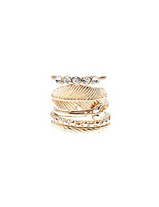 Bird & feather stacked 5-ring set