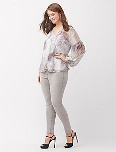Chiffon printed peasant top