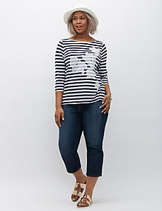 Striped Floral Boatneck Graphic Tee