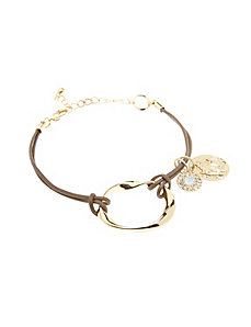 Faux leather charm bracelet