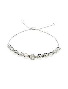 Silvertone bead bracelet