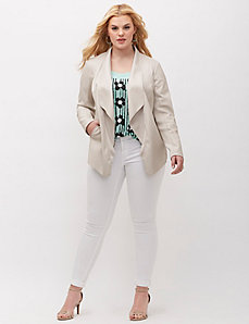 Drapey Faux-Leather Blazer