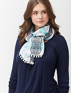 Embroidered striped scarf