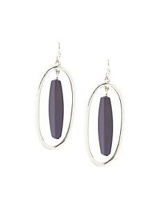 Oval drop earrings with center bead