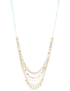 Long Multi-Chain Bead & Disc Necklace