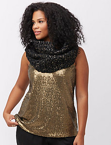 Gold-flecked crochet scarf