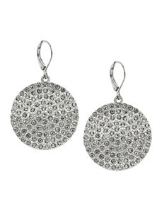 Rhinestone disc drop earrings by Lane Bryant