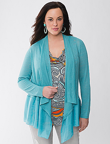 Lane Collection mixed linen draped cardigan